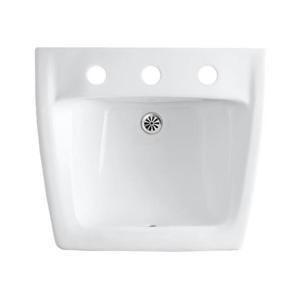 KOHLER Chesapeake 20-in White Wall-Mount/Concealed Arm Carrier Bathroom Sink