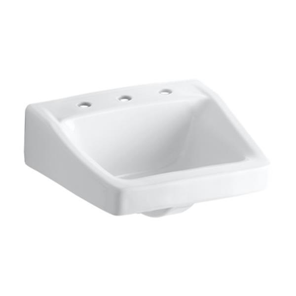 KOHLER Chesapeake 19.25-in White Wall-Mount/Concealed Arm Carrier Bathroom Sink