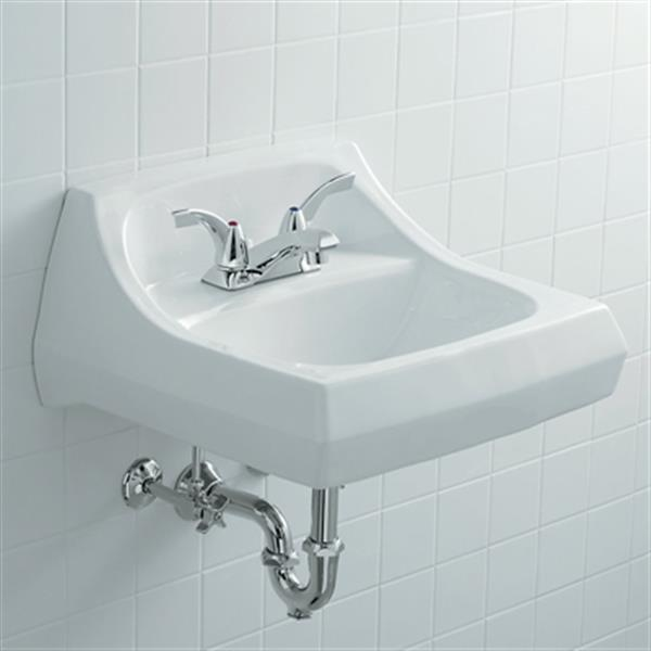 KOHLER Kingston 21.25-in White Wall-Mount Arm Carrier Bathroom Sink