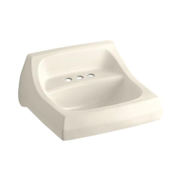 KOHLER Kingston 21.25-in Almond Wall-Mount Arm Carrier Bathroom Sink
