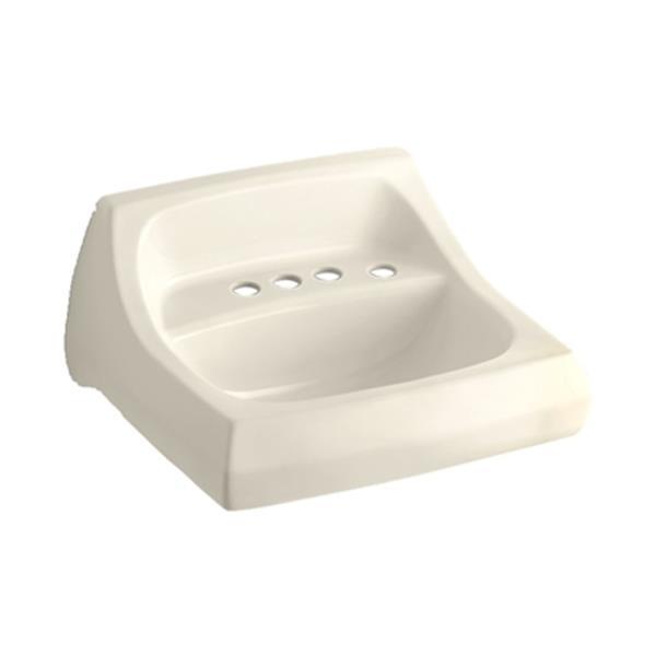 KOHLER Kingston 21.25-in Almond Wall-Mount/Concealed Arm Carrier Bathroom Sink