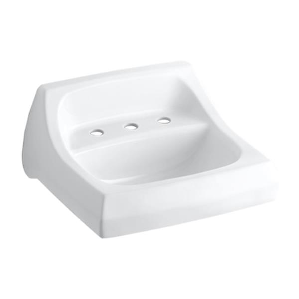 KOHLER Kingston 20.25-in White Porcelain U Shaped Wall Mounted Sink