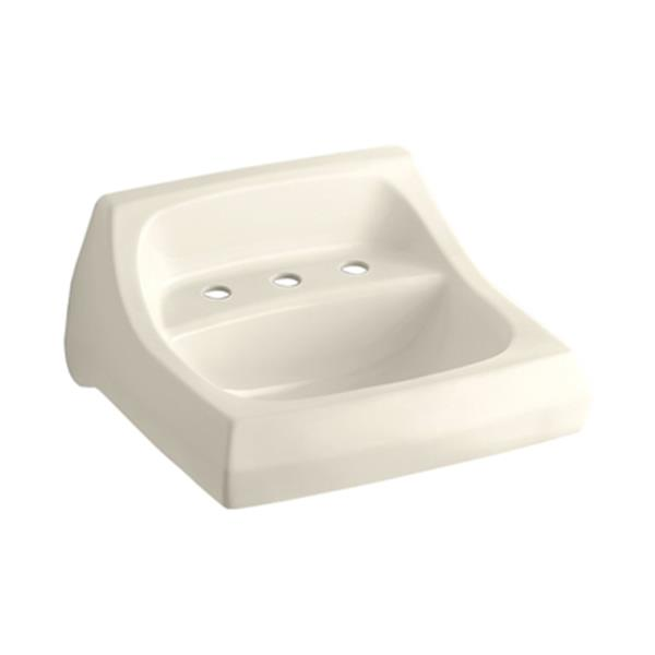 KOHLER Kingston 20.25-in Almond Porcelain U Shaped Wall Mounted Sink