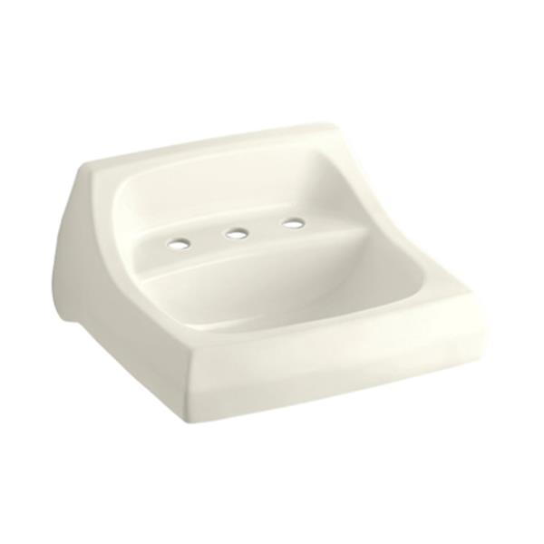 KOHLER Kingston 21.25-in Almond Porcelain U Shaped Wall Mounted Sink