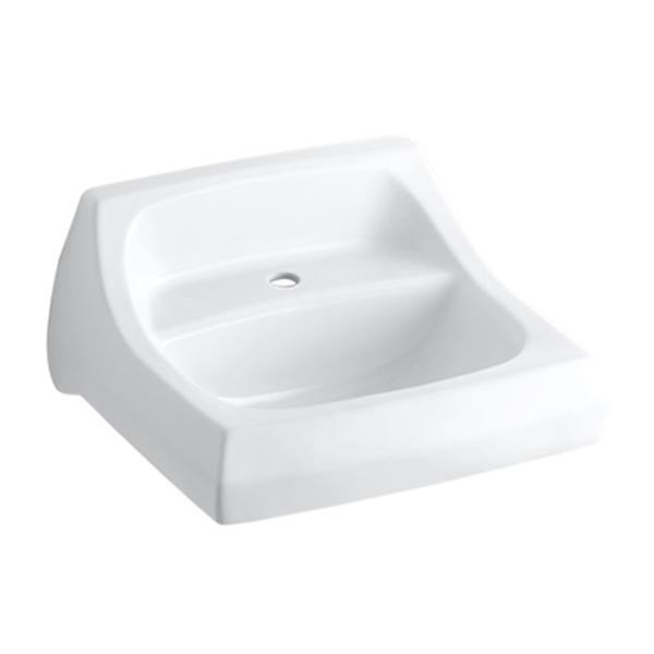 KOHLER Kingston 21.25-in White Porcelain U Shaped Wall Mounted Sink