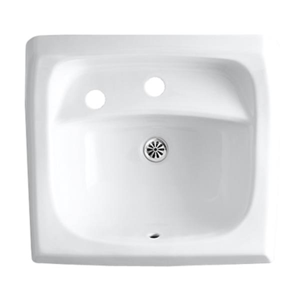 KOHLER Kingston 21.25-in White Porcelain U Shaped Wall Mounted Sink with Left Handed Soap Dispenser Hole