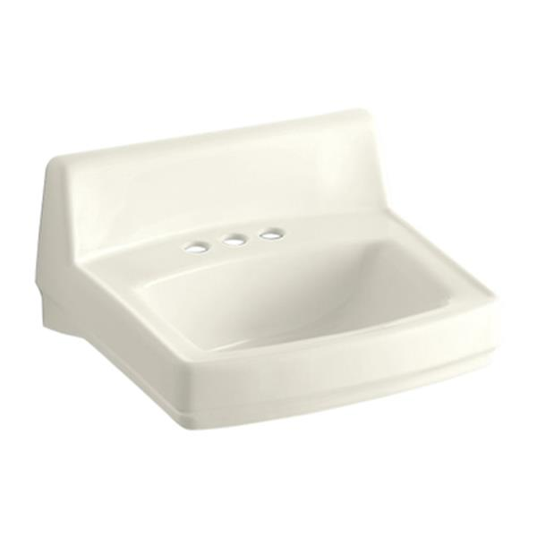 KOHLER Greenwich 20.75-in Biscuit Porcelain Rectangular Wall Mounted Sink