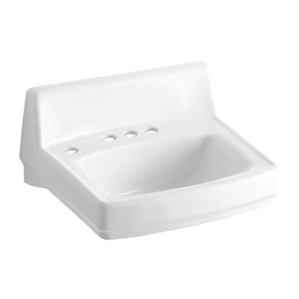 KOHLER Greenwich 20.75-in White Porcelain Rectangular Wall Mounted Sink