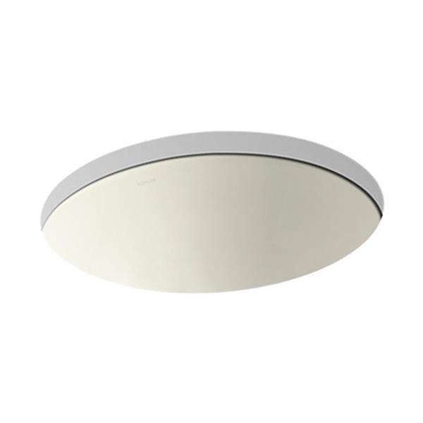 KOHLER Caxton 19.25-in Biscuit China Fire Clay Under Counter with Glazed Underside Sink