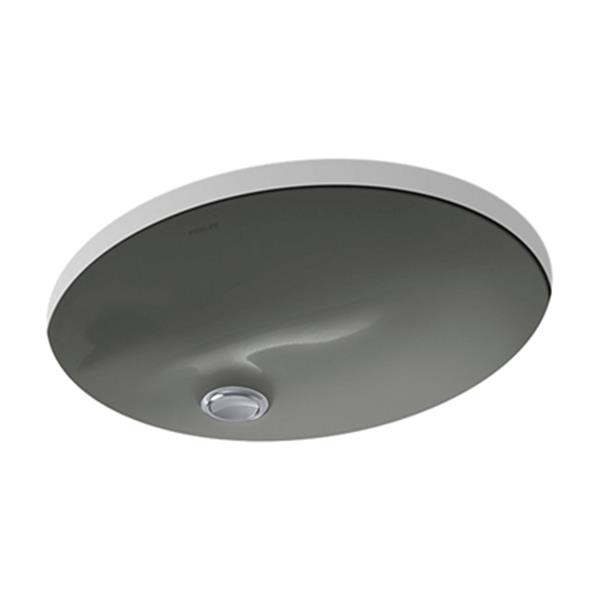 KOHLER Caxton 17-in Thunder Grey China Fire Clay Under Counter Sink