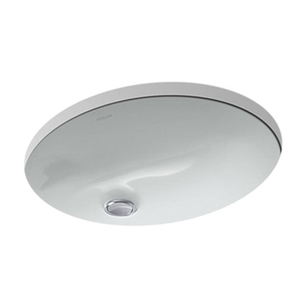 KOHLER Caxton 17-in Ice Grey China Fire Clay Under Counter Sink