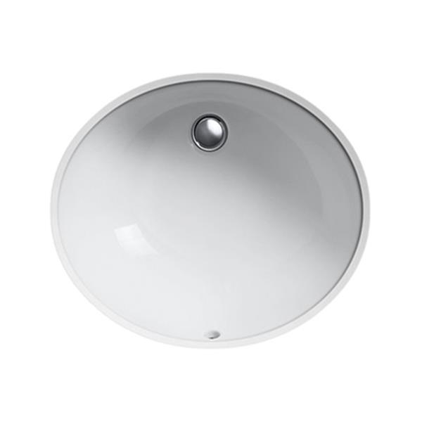 KOHLER Caxton 19.25-in White China Fire Clay Under Counter with Sealed Overflow Sink