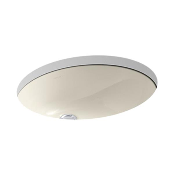 KOHLER Caxton 19.25-in Almond China Fire Clay Under Counter with Sealed Overflow Sink