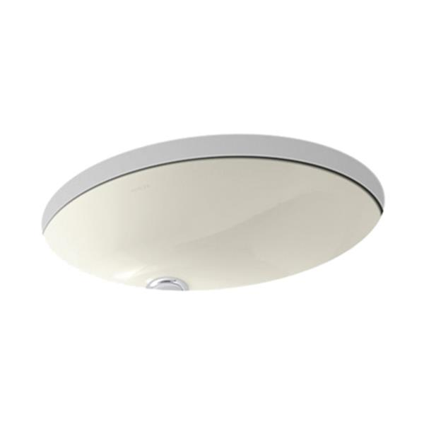 KOHLER Caxton 19.25-in Biscuit China Fire Clay Under Counter with Sealed Overflow Sink
