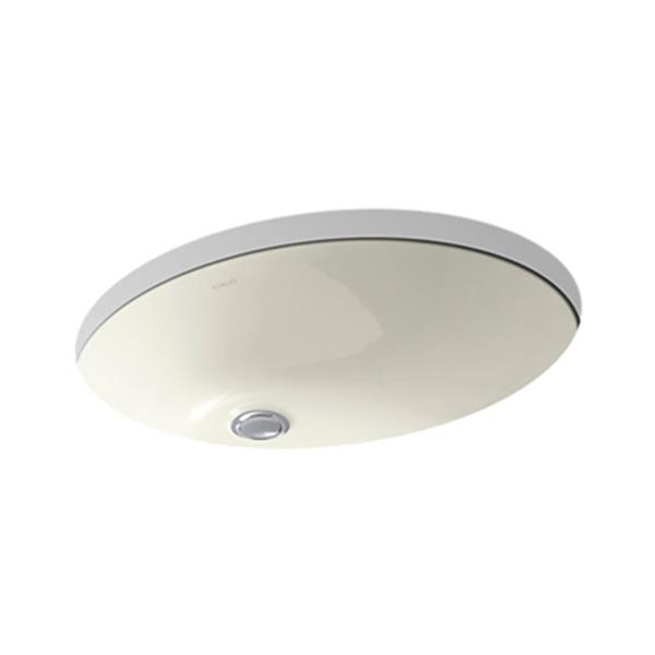 KOHLER Caxton 21.25-in Biscuit China Fire Clay Under Counter Sink