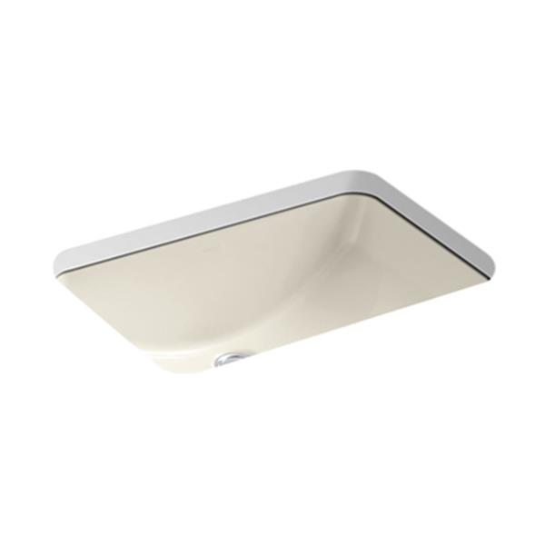 KOHLER Ladena 20.88-in Thunder Almond China Fire Clay Rectangular Under Counter Sink