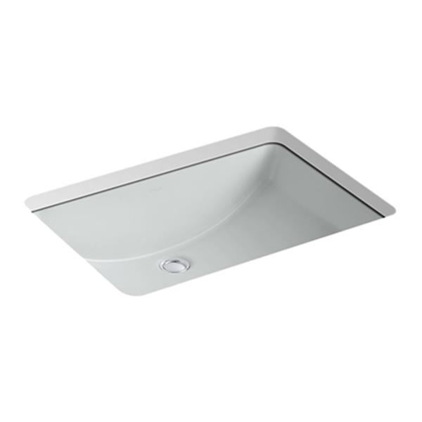 KOHLER Ladena 23.25-in Ice Grey China Fire Clay Rectangular Under Counter Sink