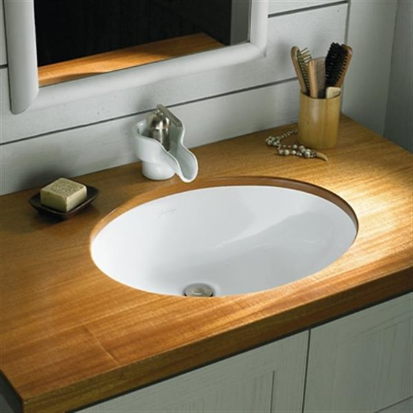 KOHLER Compass 13.25-in White China Fire Clay Under Counter Self Rimming Sink