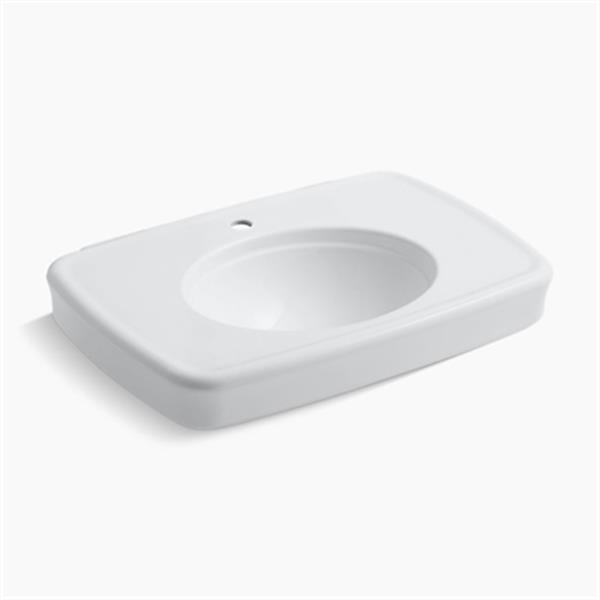 KOHLER Bancroft 30.38-in x 8.69-in White Porcelain Sink with Faucet Hole