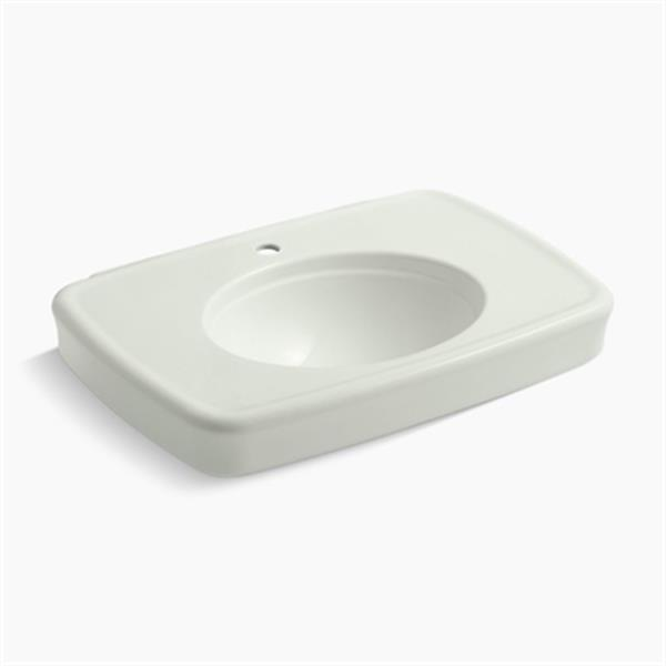 KOHLER Bancroft 30.38-in x 8.69-in Off White Porcelain Sink with Faucet Hole