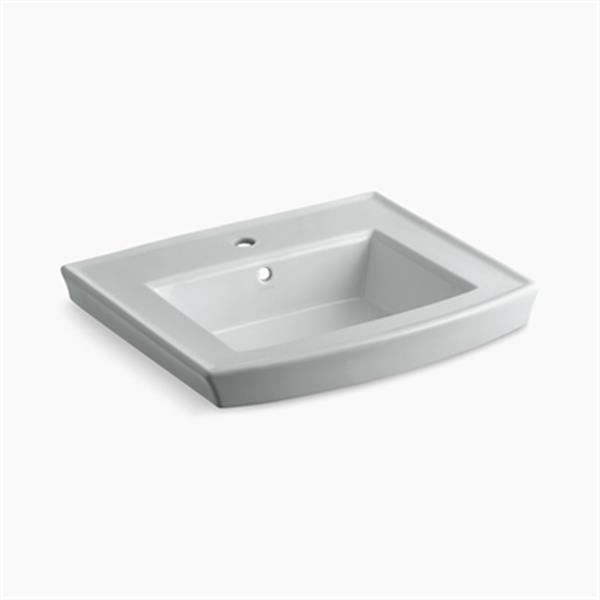 KOHLER Archer 23.94-in x 7.88-in Ice Grey Porcelain Pedestal Sink