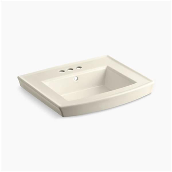 KOHLER Archer 23.94-in x 7.88-in Almond Porcelain Pedestal Sink