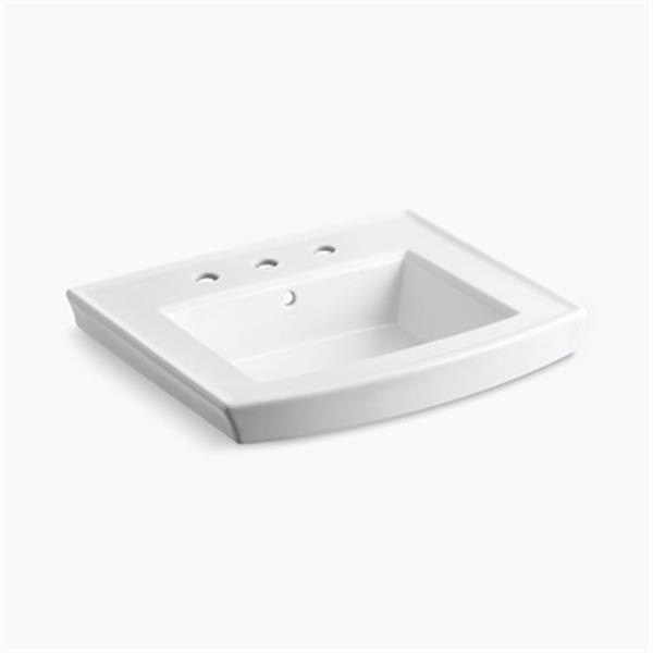 KOHLER Archer 23.94-in x 7.88-in White Porcelain Pedestal Sink