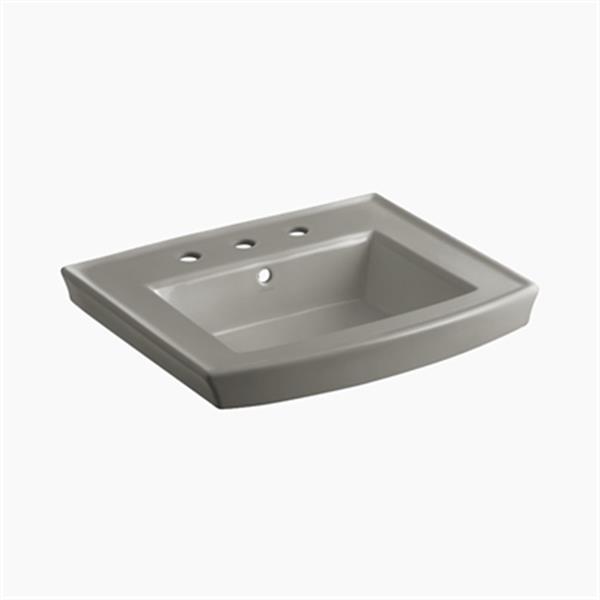 KOHLER Archer 23.94-in x 7.88-in Cashmere Porcelain Pedestal Sink