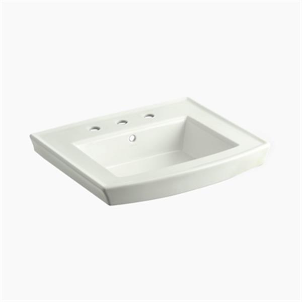 KOHLER Archer 23.94-in x 7.88-in Off White Porcelain Pedestal Sink