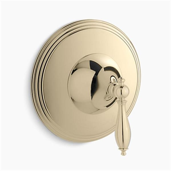 KOHLER Finial Vibrant French Gold Traditional Thermostatic Valve Trim with lever Hande (Valve not Included)