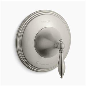 KOHLER Finial Vibrant Brushed Nickel Traditional Thermostatic Valve Trim with Lever Handle (Valve not Included)