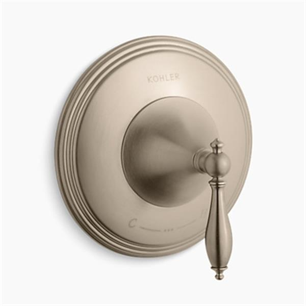 KOHLER Finial Vibrant Brushed Bronze Traditional Thermostatic Valve Trim with Lever Handle (Valve not Included)