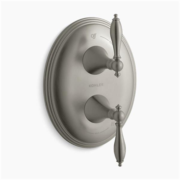 KOHLER Finial Vibrant Brushed Nickel Traditional stacked Valve Trim with Lever Handles (Valve not Included)