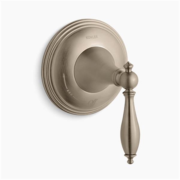 KOHLER Finial Bibrant Brushed Bronze Traditional Volume Control Valve Trim with Lever Handle (Valve not Included)