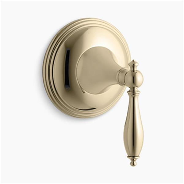 KOHLER Finial Vibrant French Gold Traditional Transfer Valve Trim with Lever Handle (Valve Not Included)