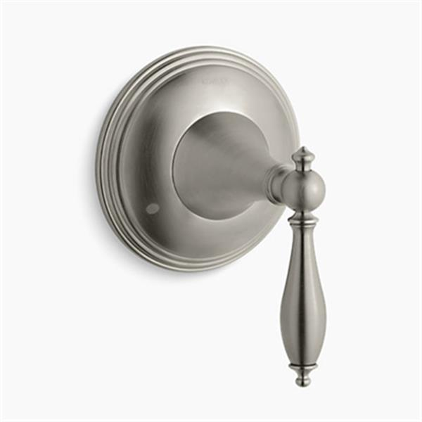 KOHLER Finial Vibrant Brushed Nickel Traditional Trasfer Valve with Lever Handle (Valve Not Included)