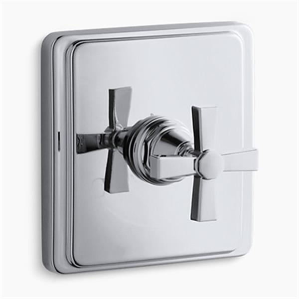 KOHLER Pinstripe Polished Chrome Pure Thermostatic Valve Trim