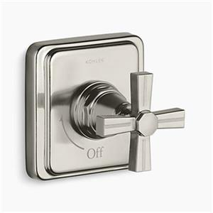 KOHLER Pinstripe Vibrant Brushed Nickel Cross Handle Volume Control Trim
