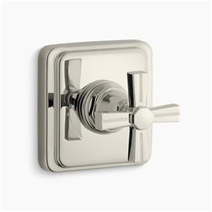 KOHLER Pinstripe Vibrant Polished Nickel Cross Handle Volume Control Trim