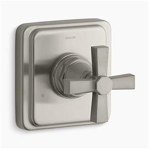KOHLER Pinstripe Vibrant Brushed Nickel Cross Handle Pure Transfer Valve Trim