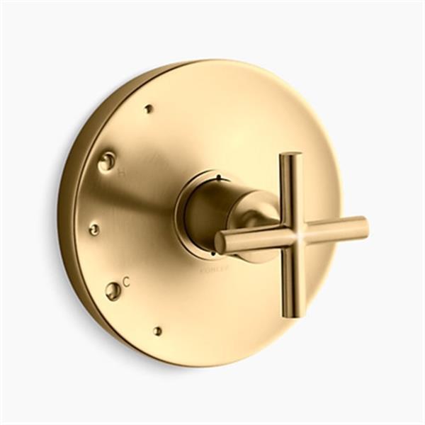 KOHLER Purist Vibrant Moderne Brushed Gold Cross Handle Rite-Temp Valve Trim