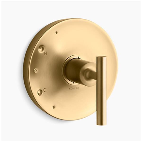 KOHLER Purist Vibrant Moderne Brushed Gold Lever Handle Rite-Temp Valve Trim