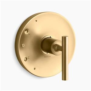 KOHLER Purist Vibrant Moderne Brushed Gold Lever Handle Rite-Temp Valve Trim