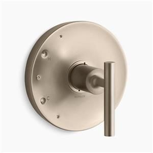 KOHLER Purist Vibrant Brushed Bronze Lever Handle Rite-Temp Valve Trim