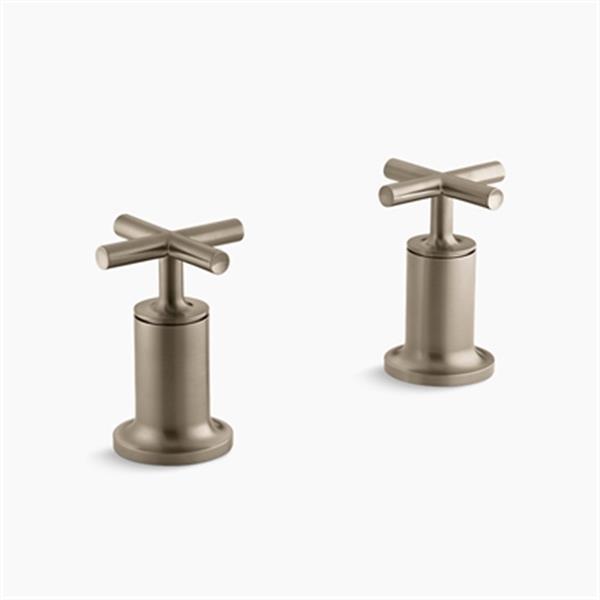 KOHLER Purist Vibrant Brushed Bronze Cross Handle Deck or Wall-Mount High-Flow Bath Trim