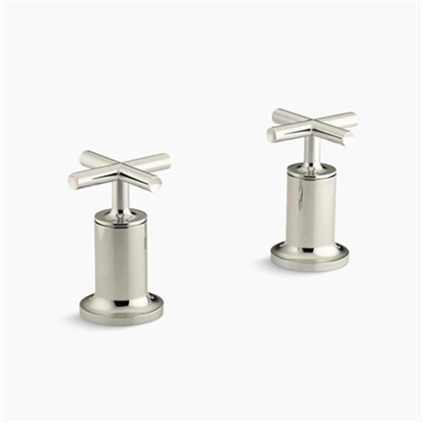 KOHLER Purist Vibrant Polished Nickel Cross Handle Deck or Wall-Mount High-Flow Bath Trim