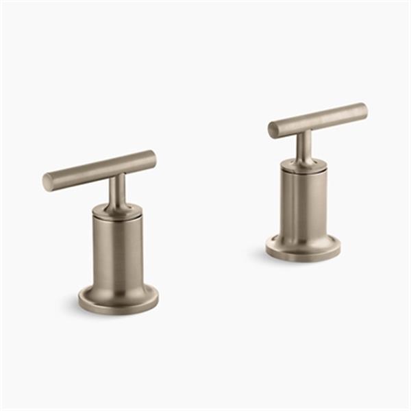 KOHLER Purist Vibrant Brushed Bronze Lever Handle Deck or Wall-Mount High-Flow Bath Trim
