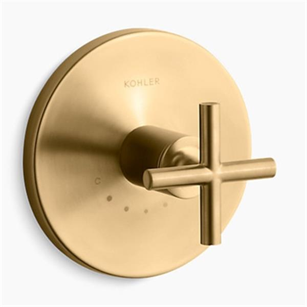 KOHLER Purist Vibrant Moderne Brushed Gold Cross Handle Thermostatic Valve Trim