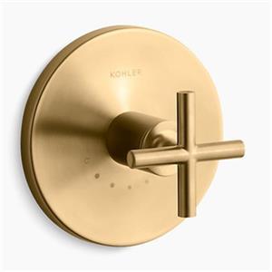 KOHLER Purist Vibrant Moderne Brushed Gold Cross Handle Thermostatic Valve Trim