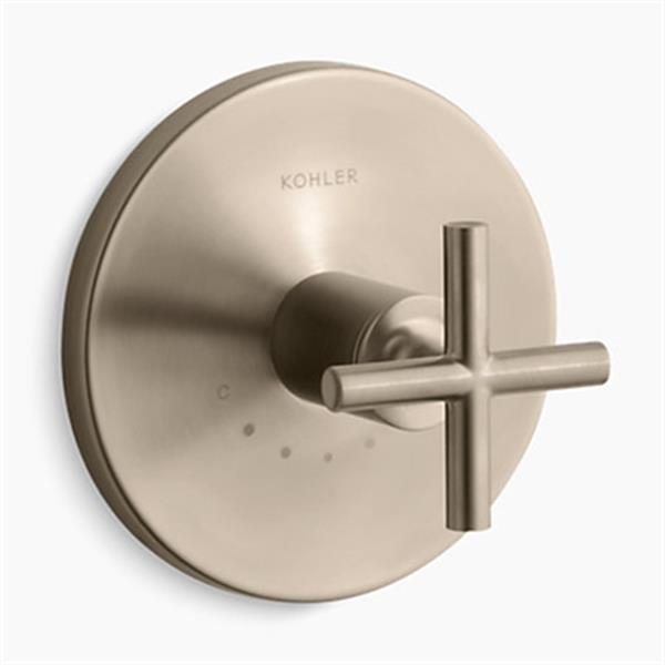 KOHLER Purist Vibrant Brushed Bronze Cross Handle Thermostatic Valve Trim